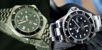 "The Citizen 7 diver on left also replicates the ""Jubilee"" band famous on many retro-Rolexes circa 1970s. New Submariners have the usual steel bracelet as seen on the right."