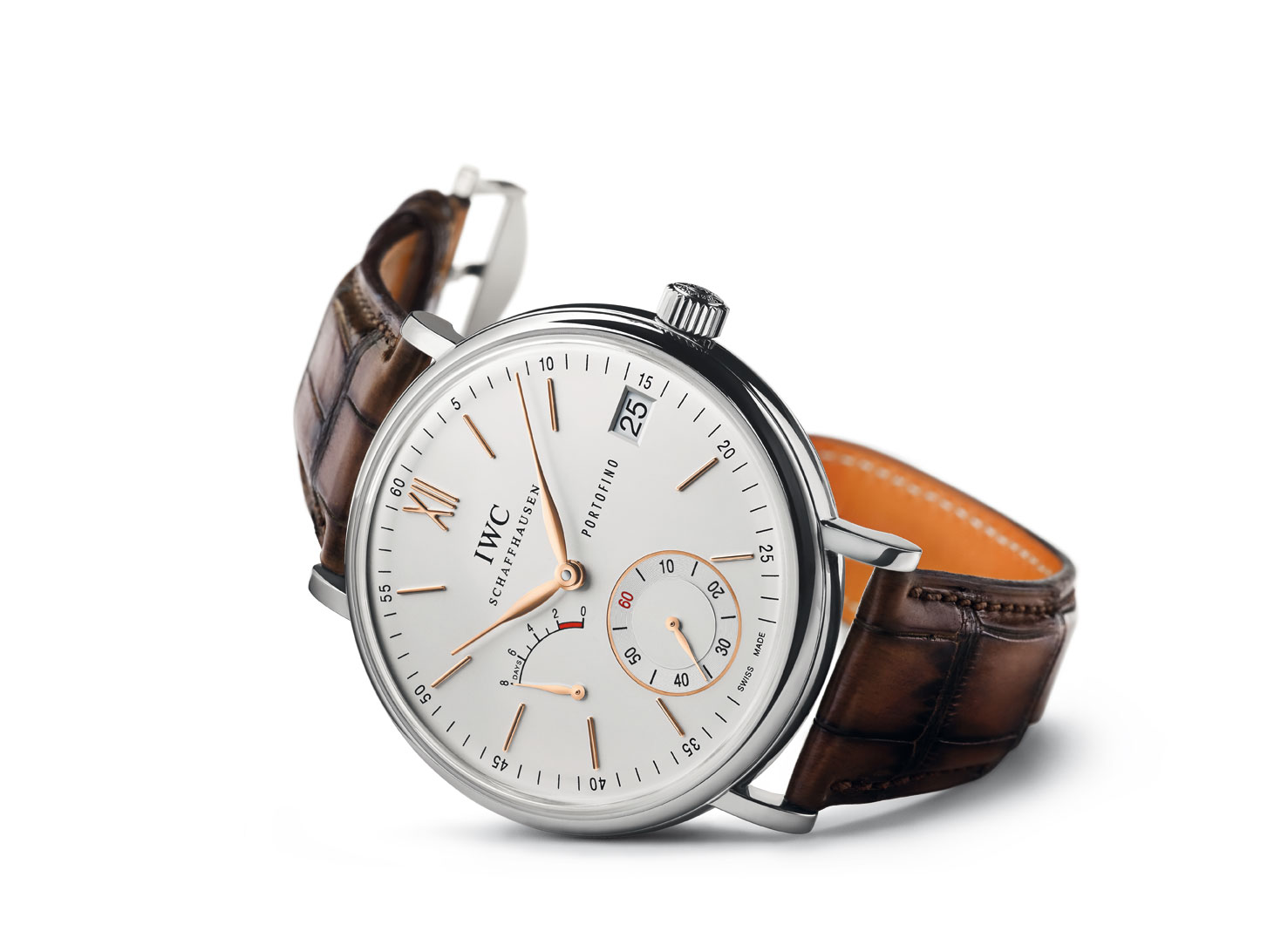 Men s luxury watch iwc portofino hand wound eight days the monsieur for Luxury watches