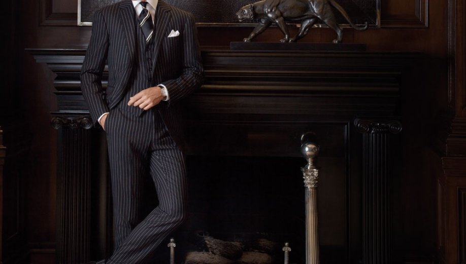 Ralph Lauren Purple Label Sartorial Collection wool suit, $7,995, Purple Label dress shirt, $695, silk tie, $185, and white-gold Slim Classique watch, $16,500. Photo by Sergio Kurhajec