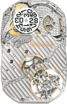 "Hand-wound mechanical movement  28 jewels  Finely adjusted in six positions  Rhodium-plated  Circular-grained plate  ""Côtes de Genève"" decoration  Tourbillon carriage in the shape of a Celtic cross  Hallmark of Geneva"