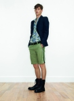 Look 3 from Zadig & Voltaire SS 2011- Floral shirt with blazer and boots