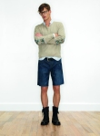 Look 12 from Zadig & Voltaire SS 2011- Cardigan with mandarin collar shirts and boots