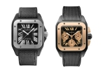 Cartier Santos 100 Carbon automatic in steel on ADLC steel or Santos 100 Chronograph in Pink Gold bezel on ADLC steel