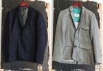 Left: Percival Navy 2 Button classic tailored blazer with working placket sleeve and custom lining. Right: Fitted workmans Forest blazer with binded seems.
