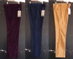 Percival slim cord trousers from Left to Right: Aubergine, navy moleskin and fawn.