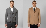 Baby Camel Hair Patch Pocket Jacket (right) Cable Cardigan with Toggle Closures (Left):  Pure lambswool cable with grosgrain trim detail on sleeves.