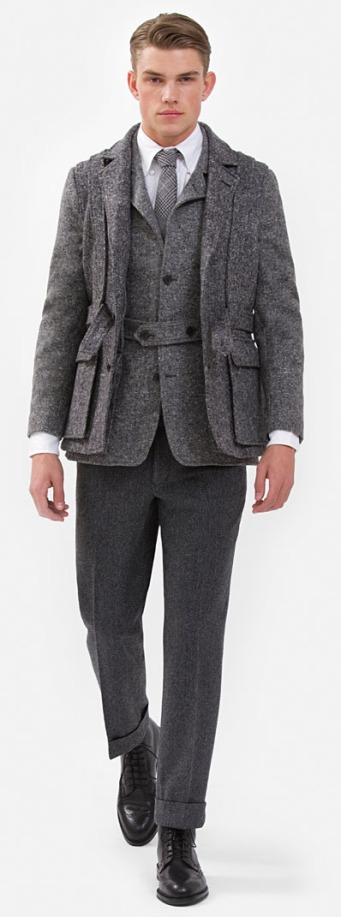 Norfolk Tipped Jacket: Pure wool three-button jacket with center back vent.