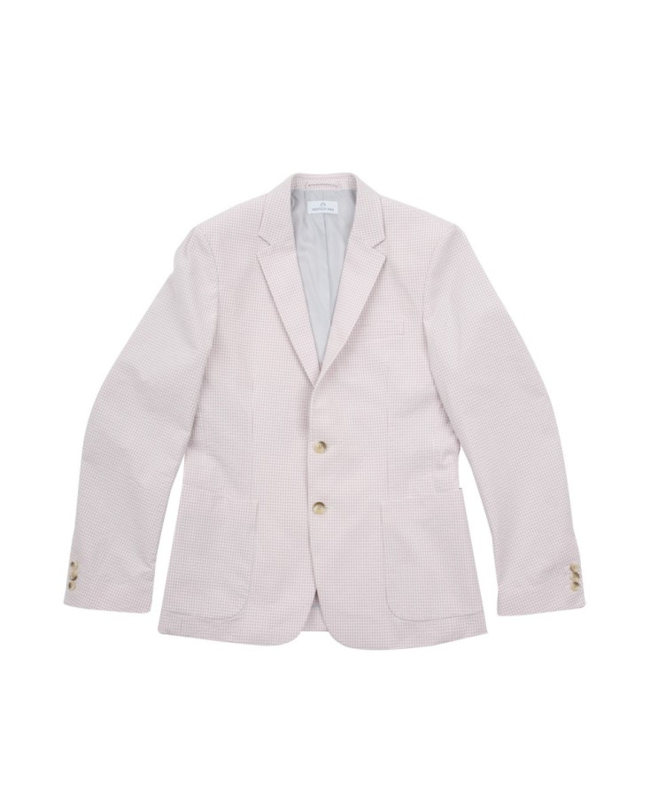 Slim-fitting casual blazer with external pockets and single vent.