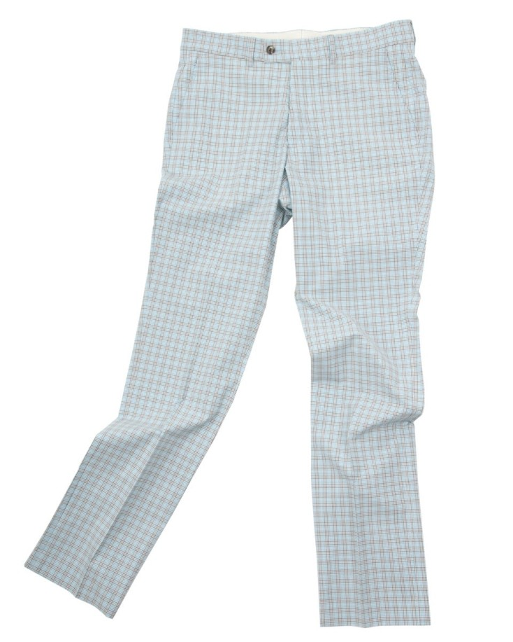 Slim-fitting, flat-fronted, tapered seersucker trousers with double back pockets.100% cotton seersucker.