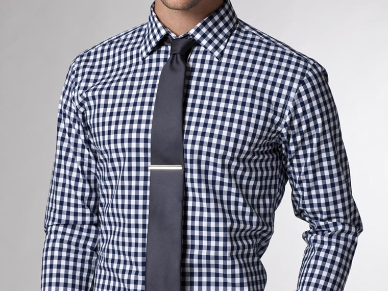 Indochino Navy Blue Gingham