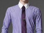 Tailored shirts without leaving chair - Indochino purple striped dress shirt