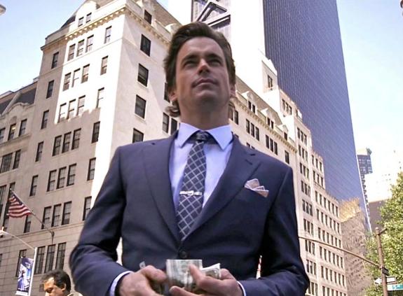 Paul Smith suit and shirt, Hugo Boss tie, vintage tiebar, Dino Baldini cufflinks, Paul Stuart NYC pocket square - White Collar USA network