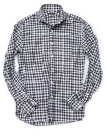 run of the mill- navy gingham flannel sport shirt
