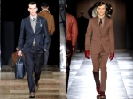 Louis Vuitton midnight blue suit (left) Brown Viktor & Rolf peak lapel suit (right)