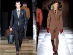 Louis Vuitton midnight blue suit (left) Brown Viktor & Rolf peak lapel suit (right)