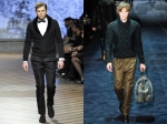 Shawl collar cardigan from Ermenegildo Zegna (left) and Knitted sweater from Gucci- look no odd bulges.