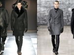 Viktor & Rolf fur lapel overcoat (left) and Yves Saint Laurent flannel peaked lapel double breasted overcoat (right)