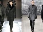 Viktor & Rolf fur lapel overcoat (left) and Yves Saint Laurent flannel peaked lapel double breasted overcoat (right)