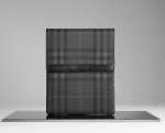 Contrast trim Stylish check pattern iPad case with Foldover flap with press stud closures