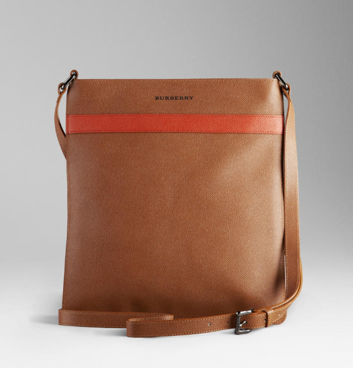Leather messenger bag with leather handles and trim with Leather zip pull ...