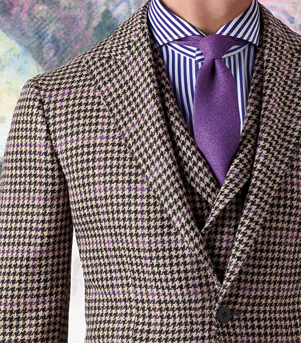Wool Houndstooth Check Phillip Sport Jacket With Deco- Phineas Cole clothing is a lean contemporary silhouette. The body is trimmer and arms are narrower. Trousers are slimmer and flat front.