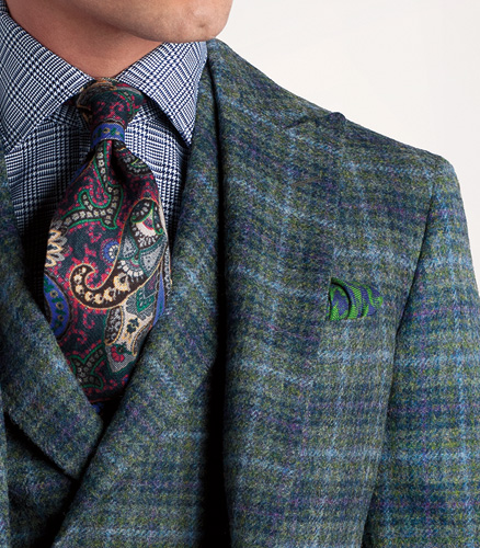 Shetland Wool Plaid Phillip Sport Jacket With Deco