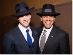 President Obama looking smashing in his fedora from Paul's Hat Works.
