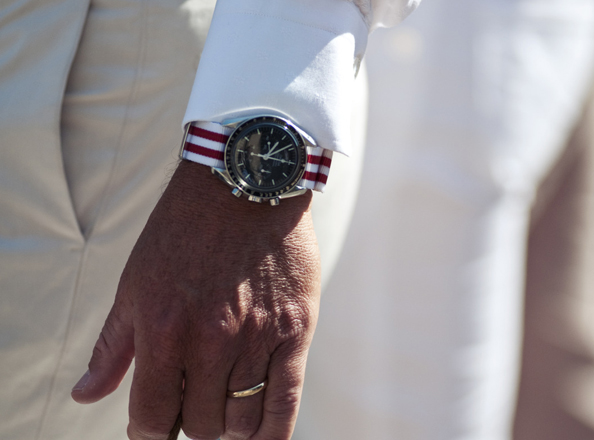 "Though usually seen in ""standard"" Bond grey and black, NATO straps can be dressed up using brightly coloured straps. A dressy look is achieved by creating a matching ensemble."