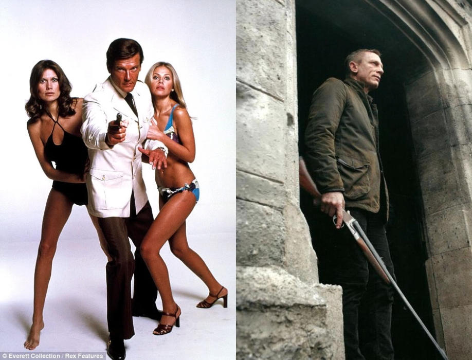 Left: Roger Moore as Bond in The Spy Who Loved Me. Right: Daniel Craig prepares for an attack on Skyfall Estate in a Barbour x Tokihito Yoshida Skyfall Jacket.