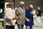 Lino Leluzzi, the darling of street photography, left, at Pitti Uomo 2013.