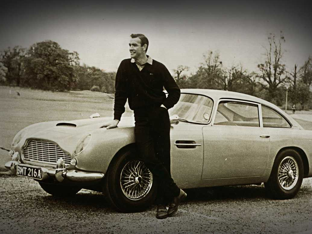 "Sean Connery and the first appearance of the DB5 in ""Goldfinger ..."