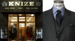 The Knize shopfront in Vienna still sports the locations where branches once stood prior to World War 2. Right: The angled gorge- a Knize signature lapel.