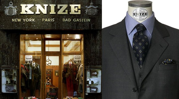 The Knize shopfront in Vienna still sports the locations where branches once stood prior to World War 2. Right: The angled notch- a Knize signature lapel.