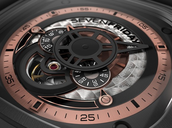The Seven Friday P02 is customized with specific discs for 24H and small second functions while a special minute hand is designed as an extended arm of the mechanical movement.