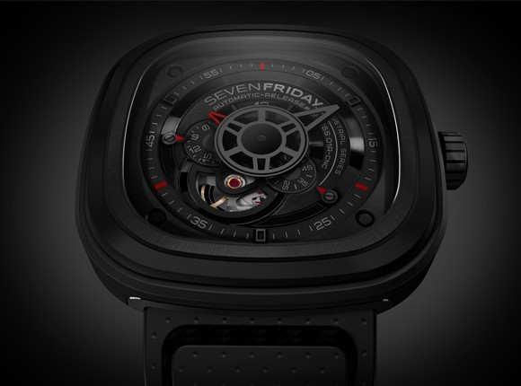 "The ""stealth"" P03 in Black, gun metal & a touch of red; finishing alternatively ""opalin"", mat, diamond cut, satine with 11 applied parts."