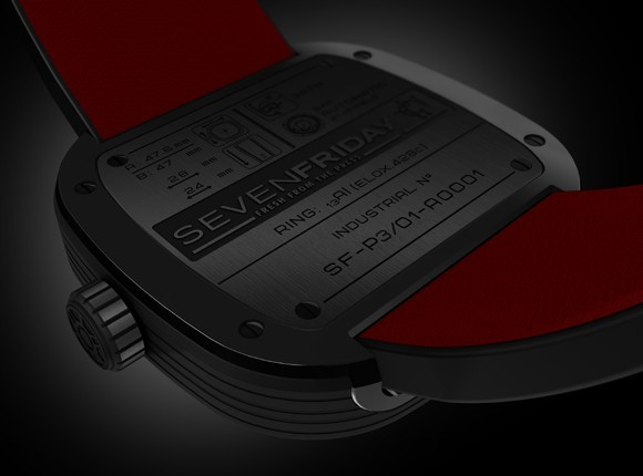 The Seven Friday P3 is the only one with the contrast red accent on the underside of the watch band.