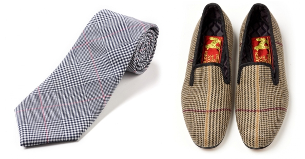 Fox Flannel Glen Check Tie and Fox Russell Check Albert Slipper.