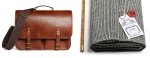 Dart Oak Bark Tanned Leather Bag and Black Prince of Wales Check Jacketing Flannel.