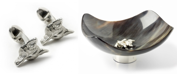 Fox Mask Sterling Silver Cufflink and Horn Bowl with Solid Silver Base.
