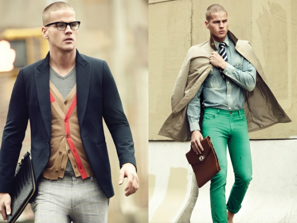 "Never underestimate the use of colours to instantly ""de-sombre"" a serious outfit. Right: The green trousers and denim shirt turn business neckwear into an accessory. IMAGE: Comodo"