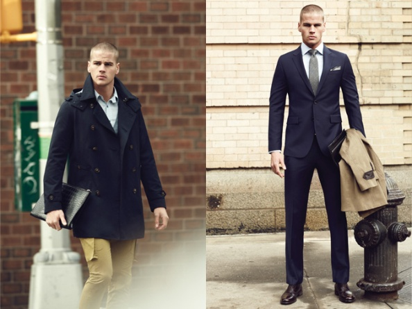 Left: Comodo Navy double breasted peacoat layered with blue poplin shirt and grey cardigan, paired with casual khaki chinos. Right: The penultimate formal navy suit with checked necktie. Image: Comodo