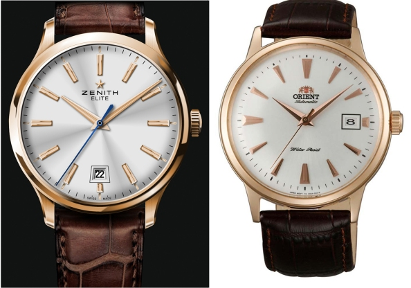 From left: Zenith Elite Captain Central Seconds and the Orient Bambino in rose gold.