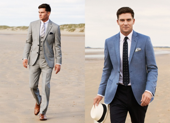 Left: Austin Reed Grey Jacket £375 Grey Waistcoat £175 White Oxford Shirt £69.90 Grey Trouser £120. Right: Austin Reed CUT Blue Puppytooth Jacket with White Oxford Shirt and CUT Navy Crisp Trouser.