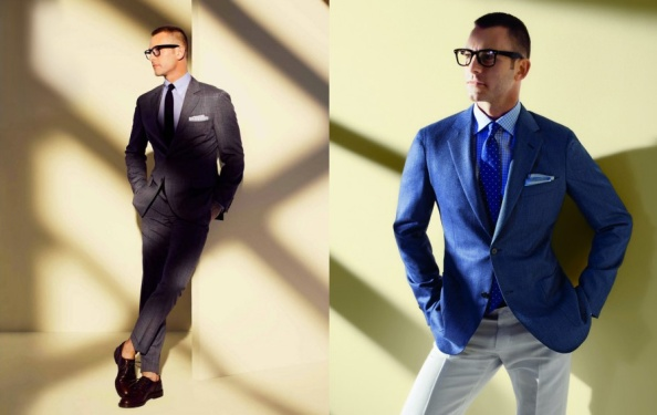Left: Brunello Cucinelli three-roll-two button suit in gray plaid and blue windowpane wool with flat-front trousers. Right: Ermenegildo Zegna two-button suit in light gray herringbone and gray windowpane wool/silk with flat-front trousers.