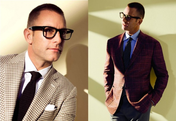 Patterns are back- the masculine check. Here on this Isaia two-button sport jacket in brown/ivory mini- check wool/silk/linen (left). Kiton in two-button sport jacket in RASPBERRY plaid cashmere/linen/silk.