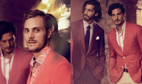 "The Brioni men avoid the sometimes ""funereal"" Downton Abbey monotones and embrace pastels this summer."