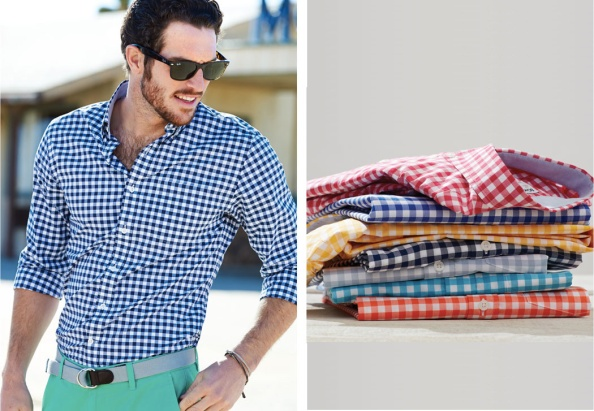 Bonobos GING CROSBY shirt in Pomergranate, Royal Blue, Citrus, Navy, Light Blue, Turquoise, and lastly, Orange.