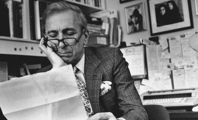 Gay Talese in Prince of Wale check double breasted blazer with Paisley necktie. Credit: Time & Life Pictures/Getty Images