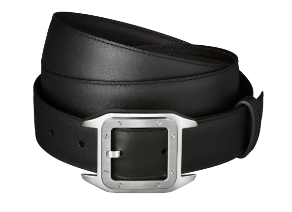 Palladium finish ardillon buckle, screw motif, reversible black/ dark brown cowhide strap.