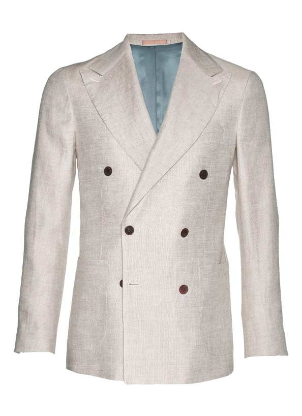 Cut from pure Larusmiani linen, this sharp, light brown Madison jacket features patch pockets, 6-on-2 button placement, and a wide, slightly curved peaked lapel. Pair it with dark brown trousers and blue accents for a rich style.